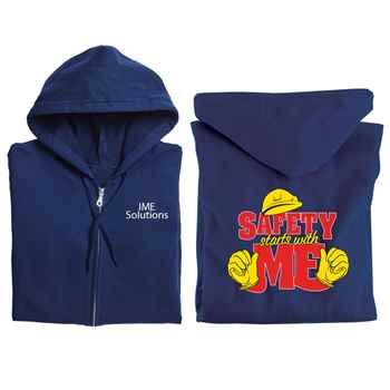 Safety Starts With Me Gildan® Full-Zip Hooded Sweatshirt with Personalization