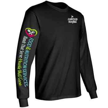 Food & Nutrition Services: Hands That Serve, Hearts That Care Long-Sleeve 2-Location Recognition T-Shirt - Personalized
