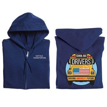 School Bus Drivers: Driving America's Future Gildan® Full-Zip Hooded Sweatshirt - Personalized