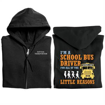 I'm A School Bus Driver For All The Little Reasons Gildan® Full-Zip Hooded Sweatshirt - Personalized