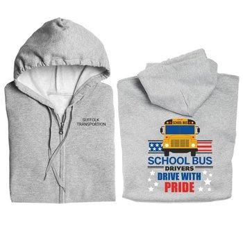 School Bus Drivers Drive With Pride Gildan® Full-Zip Hooded Sweatshirt - Personalization Available