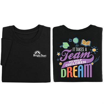 It Takes A Team To Help Children Dream Black Two-Sided Short Sleeve T-Shirt - Personalization Available