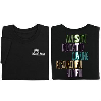 STAFF Acronym Black Two-Sided Short Sleeve T-Shirt - Personalization Available