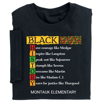 Black History: Acrostic Adult T-Shirt With Personalization