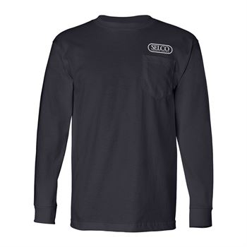 Bayside - USA-Made Long Sleeve T-Shirt with a Pocket - Personalization Available