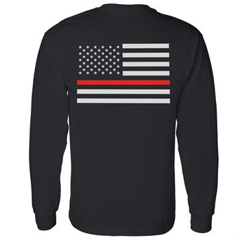 Thin Red Line Flag Two-Sided Short Sleeve T-Shirt - Personalization Available
