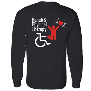 Rehab/PT With Heart Two Sided Long Sleeve T-Shirt - Personalized