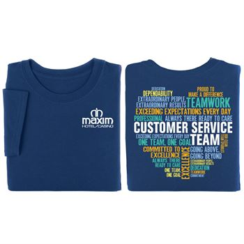 Customer Service Team (Heart Word Cloud) Two-Sided T-Shirt - Personalization Available