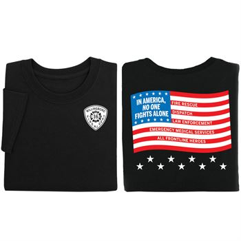 In America, No One Fights Alone Two-Sided Short Sleeve T-Shirt - Personalization Available