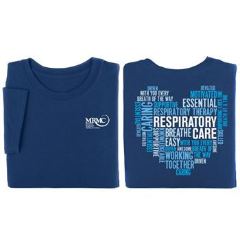 Respiratory Care Heart Word Cloud�Two-Sided Short Sleeve T-Shirt - Personalization Available