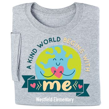 A Kind World Begins With Me Positive Youth T-Shirt - Personalized