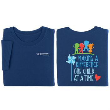 Making A Difference One Child At A Time Navy 2-Sided T-Shirt - Personalization Available