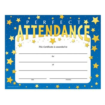 Perfect Attendance Stars Design Gold Foil-Stamped Certificates - Pack of 25