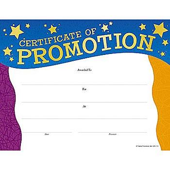 Certificate Of Promotion Gold Foil-Stamped Certificates - Pack of 25