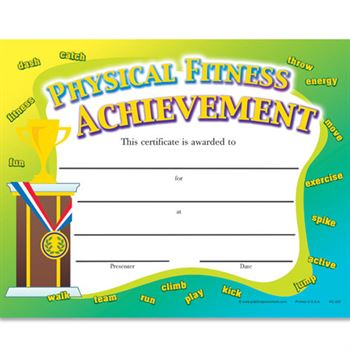 Physical Fitness Achievement Gold Foil-Stamped Certificates - Pack of 25