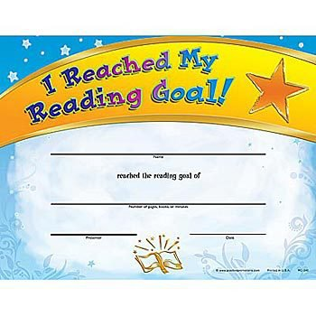 I Reached My Reading Goal Gold-Foil Stamped Certficiates