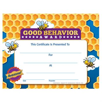Good Behavior Award Gold Foil-Stamped Certificate