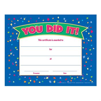 You Did It! Gold Foil-Stamped Certificates - Pack of 25
