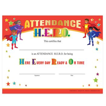 Attendance H.E.R.O. Gold Foil-Stamped Certificates - Pack of 25