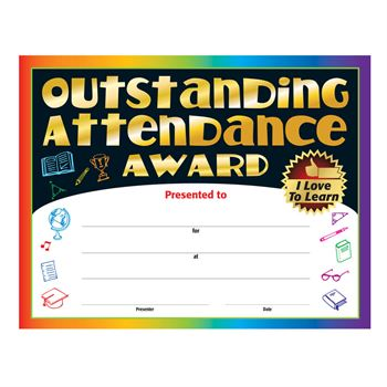 Outstanding Attendance I Love To Learn Gold Foil-Stamped Certificates - Pack of 25