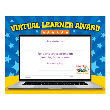 Virtual Learner Award Gold Foil-Stamped Certificates - Pack of 25