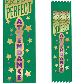 Two-Color Quarterly Perfect Attendance Award Ribbon (Green)