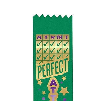 Two-Color Quarterly Perfect Attendance Award Ribbon