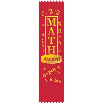 Math Award Red Gold Foil-Stamped Satin Ribbons - Pack of 25