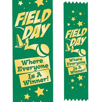Field Day Where Everyone Is A Winner! Gold Foil-Stamped Green Participant Ribbons