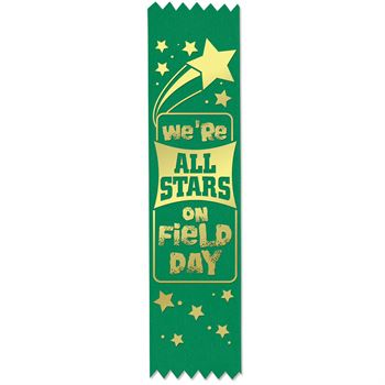 We're All Stars On Field Day Gold Foil-Stamped Green Participant Ribbons
