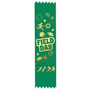 Field Day Gold Foil-Stamped Green Participant Ribbons - Sports Design