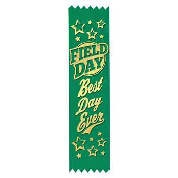 Field Day: Best Day Ever Gold Foil-Stamped Green Participant Ribbons - Pack of 100