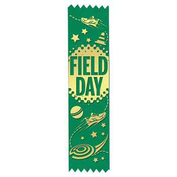 Field Day Gold Foil-Stamped Green Participant Ribbons