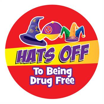Hats Off To Being Drug Free Theme Day Stickers - Roll of 200