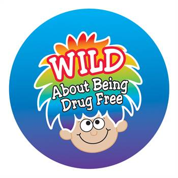 Wild About Being Drug Free Theme Day Stickers - Roll of 200