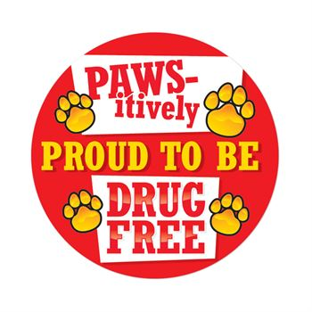 Paws-itively Proud To Be Drug Free Theme Day Stickers - Roll of 200