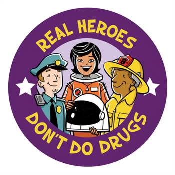 Real Heroes Don't Do Drugs Theme Day Sticker