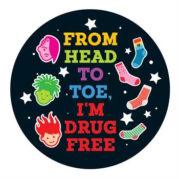 From Head To Toe, I'm Drug Free Theme Day Stickers - Roll of 200