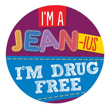I'm A Jean-ius, I'm Drug Free Theme Day Stickers - Roll of 200
