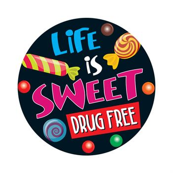 Life Is Sweet Drug Free Theme Day Stickers - Roll of 200