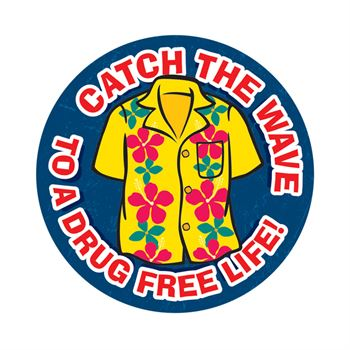 Catch The Wave To A Drug Free Life!�Theme Day Stickers - Roll of 200