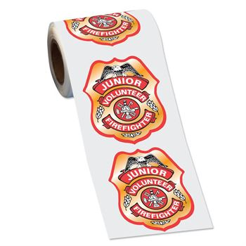 Junior Volunteer Firefighter Badge Stickers-On-A-Roll - 100 Stickers Per Roll