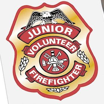 Junior Volunteer Firefighter Badge Stickers-On-A-Roll