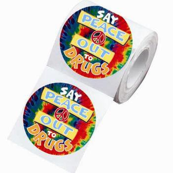 Say Peace Out To Drugs Theme Day Stickers