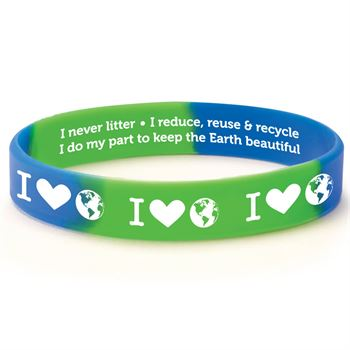 I (Heart) The Earth 2-Sided Silicone Bracelets - Pack of 10