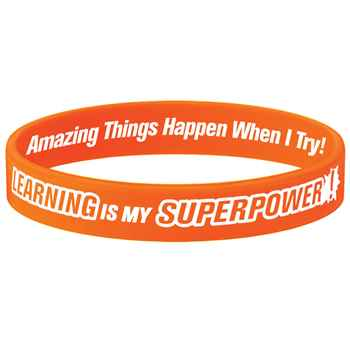 Learning Is My Superpower! Neon Orange Growth Mindset 2-Sided Silicone Bracelet