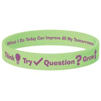 Think-Try-Question-Grow Neon Green Growth Mindset 2-Sided Silicone Bracelet