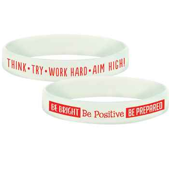 Be Bright, Be Positive, Be Prepared Glow In The Dark Silicone Bracelets - Pack of 10