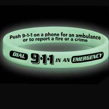 Dial 911 In An Emergency 2-Sided Glow-In-The Dark Silicone Awareness Bracelet