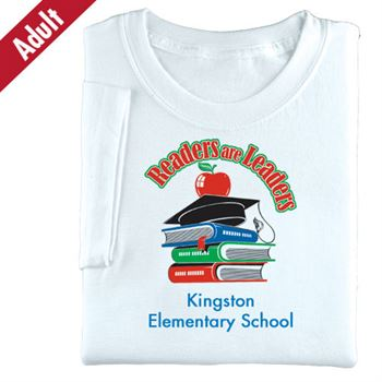 Adult White Readers Are Leaders Books, Cap & Apple T-Shirt - Personalization Available